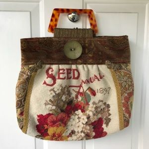 Vintage inspired artisan flower embroidery bag